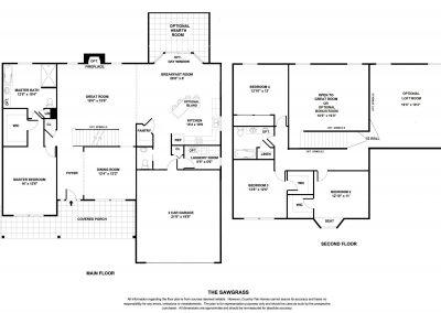 New Homes St Louis Sawgrass Floor Plan BW